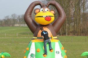 Luchtkussen Klimtoren-aap nu te huur voor ieder evenement, goedkoopste model bij attractieverhuur de toren.